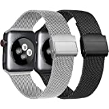 Meliya Cinturino Compatibile per Apple Watch Cinturino 44mm 42mm 40mm 38mm Series 6 5 4 3 2 1 SE, Cinturino in Metallo Maglia