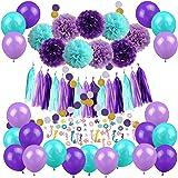Zerodeco Decoraciones de Fiesta de Sirena, Feliz cumpleaños con Papel de Seda Pom Poms, Globos de látex, Confeti de Sirena, S