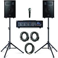 Alesis PA System in a Box Bundle - 280W PA Anlage, 4-Kanal Mixer, zwei 10 Zoll Passiv 2-Wege Lautsprecher mit Stative…