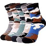 WYTartist - Calcetines para hombre con forro polar mullido, cálidos y con suela antideslizante, gruesos y pesados, de Navidad