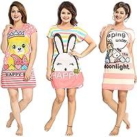 TUCUTE ® Women's Hosiery Cotton Short Knee Length Cartoon Print Nighty/Night Wear/Lounge Wear - Pack of 3 (Assorted…
