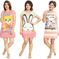 TUCUTE® Girtl's/Women's Hosiery Short Cartoon Print Nighty/Night Wear/Lounge Wear (Pack of 3)- Assorted Print