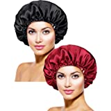 2 Pièces Bonnet de Sommeil en Satin Extra Large Chapeau de Sommeil avec Cordon de Serrage Chapeau de Sommeil de Nuit Réglable