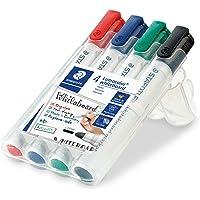 STAEDTLER 351 WP4 Lumocolour Whiteboard Marker with Bullet Tip, Multicolour, Pack of 4
