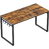 VASAGLE bureau, table, poste de travail, avec 8 crochets, 120 x 60 x 75 cm, pour bureau, salon, chambre, assemblage…