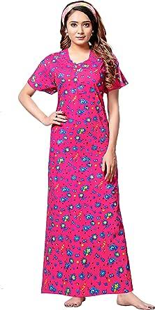 OXYURA Women's Pure Cotton Printed Night Gown Nighty Free Size