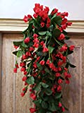 Samriddhi Artificial Hanging Orchid Flowers Contrast Peach Red Bush for Home Wall Hanging Decor