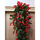 Samriddhi Artificial Hanging Orchid Flowers Contrast Peach Red Bush For Home Wedding Wall Hanging Decor
