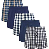 5Mayi Men's Woven Boxer Shorts Plaid Mens Boxers Cotton Mens Underwear Multipack S-XXL