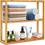 Étagère de salle de bain en bambou - 3 étages - Étagère de rangement pour plantes - Étagère murale pour salle de bain, salon,