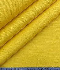 Linen Club Men's Pure Linen Unstitched Shirt Fabric (Yellow, LSABSHLINEN128TUSCANYLFEB)