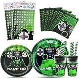 WERNNSAI Game Theme Party Decoration - Juego de vajilla de Fiesta para Jugadores Incluye Mantel Platos Tazas servilletas paji