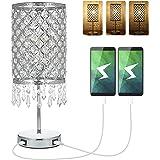 Lampada da Comodino in Cristallo 12W, Lampada da Tavolo con 2 Ricarica USB Tocco di Supporto Per Comodini da Camera da Letto