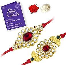 Sukkhi Elegant Gold Plated Designer Floral Rakhi Combo (Set of 2) with Roli Chawal and Raksha Bandhan Greeting Card For Men
