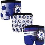 Chelsea FC - Pack de 3 Calzoncillos Oficiales de Estilo bóxer - para niños - con el Escudo del Club