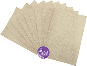 Asian Hobby Crafts Natural Jute A4 Size Sheets Burlap with Glitter-Sheets - 10-Sheets
