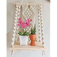 Urooz Macramé Wooden Wall Hanging Shelf |940| Modern Chic Woven Macrame Tapestries, Wall Art Home Decor for Apartment…