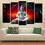 KYARA ARTS Wood Shiva Framed Painting, Multicolour, Religious, 50 x 30 inch