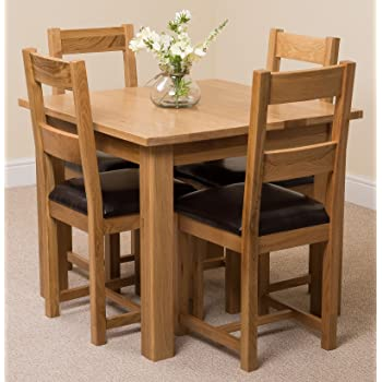 92fc69966 MODERN FURNITURE DIRECT Oslo 90cm Square Kitchen Solid Oak Dining Table + 4  Lincoln Oak Leather