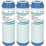 AquaHouse Gac-10 Lot de 3 Cartouches pour l'Osmose Inverse - Filtre à Eau au Charbon Actif Granulaire - pour l'ensemble de la
