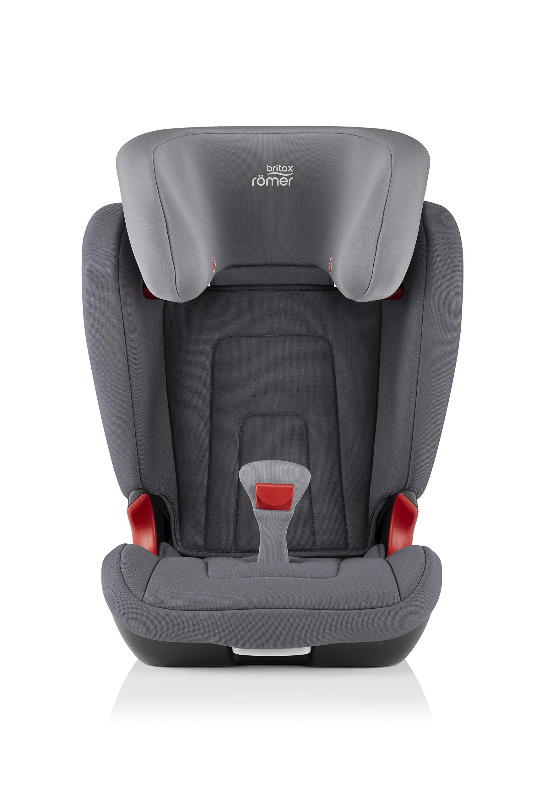 Britax Römer car seat 15-36 kg, KIDFIX 2 R Isofix group 2/3, Storm Grey Britax Römer Secure guard - helps to protect your child's delicate abdominal area by adding an extra - a 4th - contact point to the 3-point seat belt. High back booster - protects your child in 3 ways: provides head to hip protection; belt guides provide correct positioning of the seat belt and the padded headrest provides safety and comfort. Easy adjustable v-shaped backrest - designed to give optimum support to your growing child, the v-shaped backrest provides more space for their back and shoulders. 2