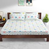 Teal by Chumbak Arctic Owl Bedsheet - Queen Size with 2 Pillow Covers, 144TC, 100% Cotton
