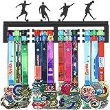 WEBIN Voetbal-medailleophanghouder, displayrek, zwart, super hard staal, metaal, wandmontage meer dan 50 medailles