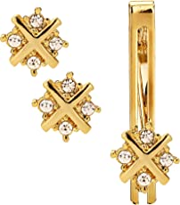 Sanjog Impressive Diamond Crystals Gold Cufflink with Matching Tie Pin for Men Gift Pack