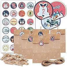 JOKBEN Adventskalender, 24 Papiertüten für Adventskalender Geschenktüten Set mit Aufklebern und Miniklammern