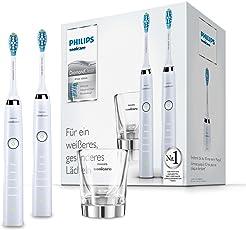 Philips Sonicare DiamondClean Elektrische Zahnbürste Doppelpack HX9327/87, 2 Schallzahnbürsten mit 5 Putzprogrammen, Timer und Ladeglas, weiß