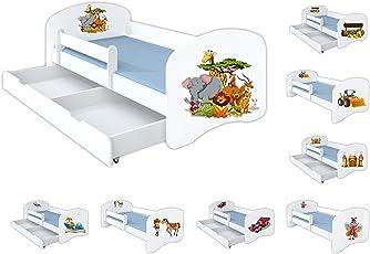 Clamaro 'Schlummerland' 70x140 oder 80x160 Kinderbett mit Rausfallschutz, inkl. Matratze und Lattenrost, mit oder ohne Bettkasten, verstellbares Seitenteil, Kantenschutzleisten