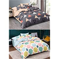 CHHILAKIYA 6D Microfiber King Size Printed Double Bedsheet Pack of 2 Along with 4 Pillow Covers, Multicolor