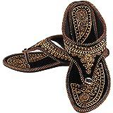 UNTHREAD Handmade Ethnic Womens Indian Traditional Khussa Shoes Phulkari Jutti Mojari Slip-ons Black