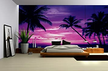 purple sunset on beach with palms wallpaper mural amazon co uk diypurple sunset on beach with palms wallpaper mural amazon co uk diy \u0026 tools