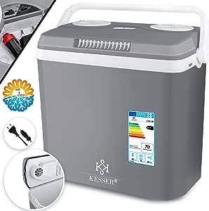 Kesser 32 Liter Kühlbox KÜhlt Und WÄrmt Thermo Elektrische Kühlbox 12 Volt Und 230 Volt Mini Kühlschrank Für Auto Und Camping Eek A Grau Küche Haushalt