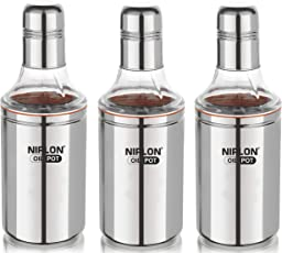 Nirlon Stainless Steel Oil Dispenser Set, 3-Pieces, Silver (3 Unit Oil Pot 1000+1000+1000 ML)