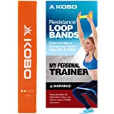 """Kobo Latex Resistance Loop Band 2"""" Wide for Squats, Hips & Glutes, Yoga, Crossfit, Stretching, Strength Training…"""