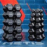 METIS Hex Hantlar | Styrketräning | Handvikter | Finns i flera vikter: 2.5 kg – 30 kg | Hemmaträning Gym Fitness - Set med 2