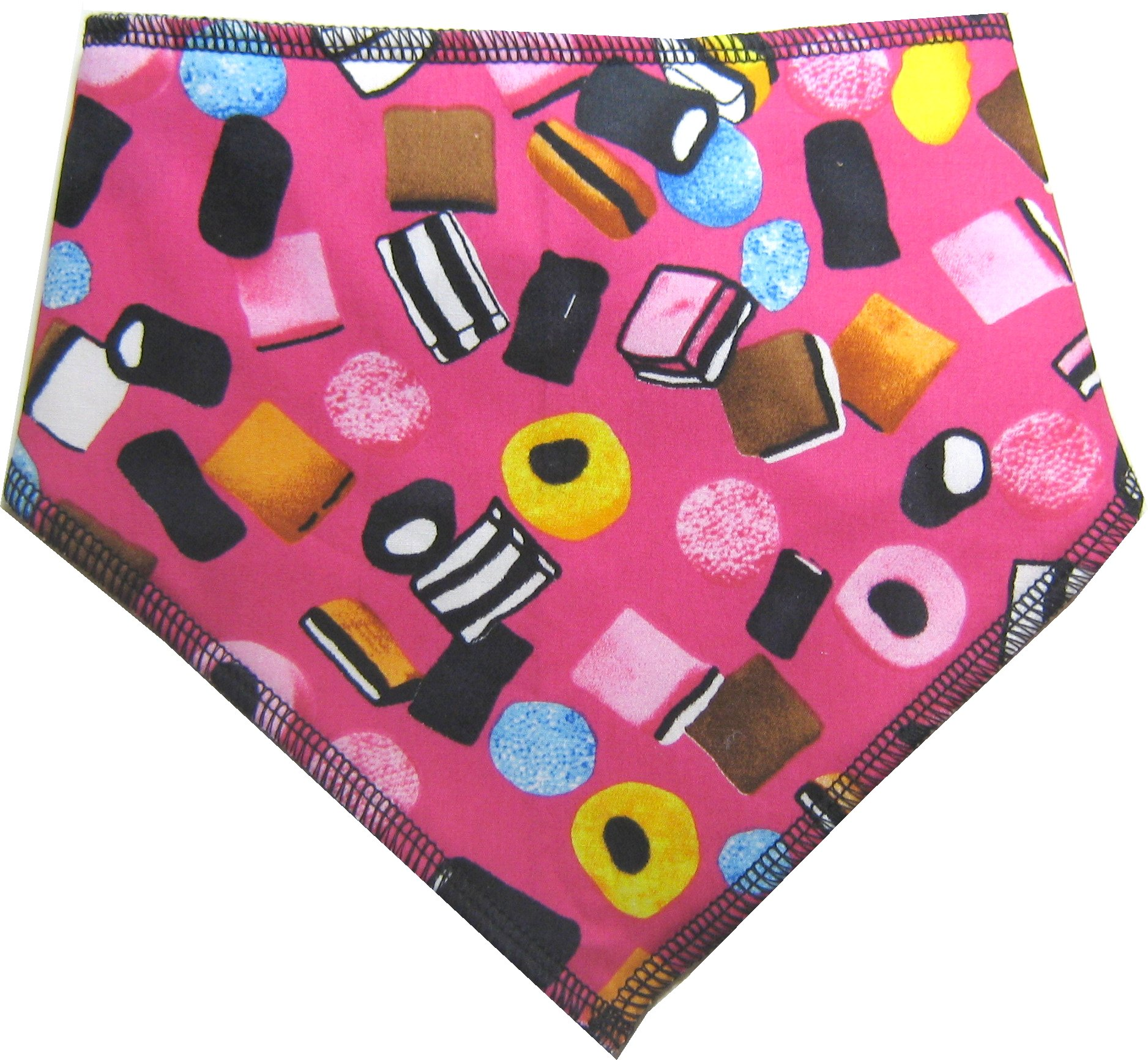 Spoilt Rotten Pets (S4) Liquorice Allsorts PINK Dog Bandana. Extra Large Size Generally Fits Rottweilers and St Bernard Sized Dogs. Neck Size 23″ to 28″ Gorgeous Range of Patterns & Colours.