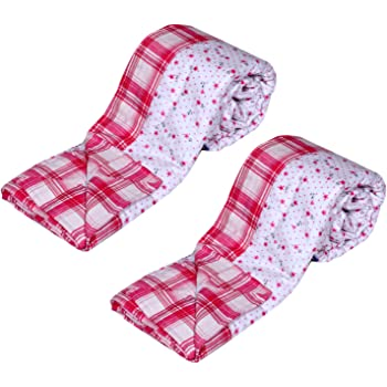 Indistar 3 Layered Quilted Super Soft Cotton Printed Premium Quality Single Bed Dohar/Top-Sheet/AC Blanket_(135X230CM)(Pack of 2 Piece)_Pink/White