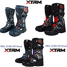 PRO-STAR KINDER STIEFEL Kinder Stiefel Off Road Motocross Sportstiefel XTRM Pro-Star Motorrad MX Quad PITBIKE ATV Bike Kinder MotorradStiefel, Blau, Rot, Schwarz