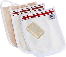"Hamam Set IV: 3 Kese (Peeling-Handschuh), Kese ""fein"", Kese ""Premium rau"" für den Körper, Kese ""Seide"" für das Gesicht (sehr fein), inkl. Original Olivenseife"
