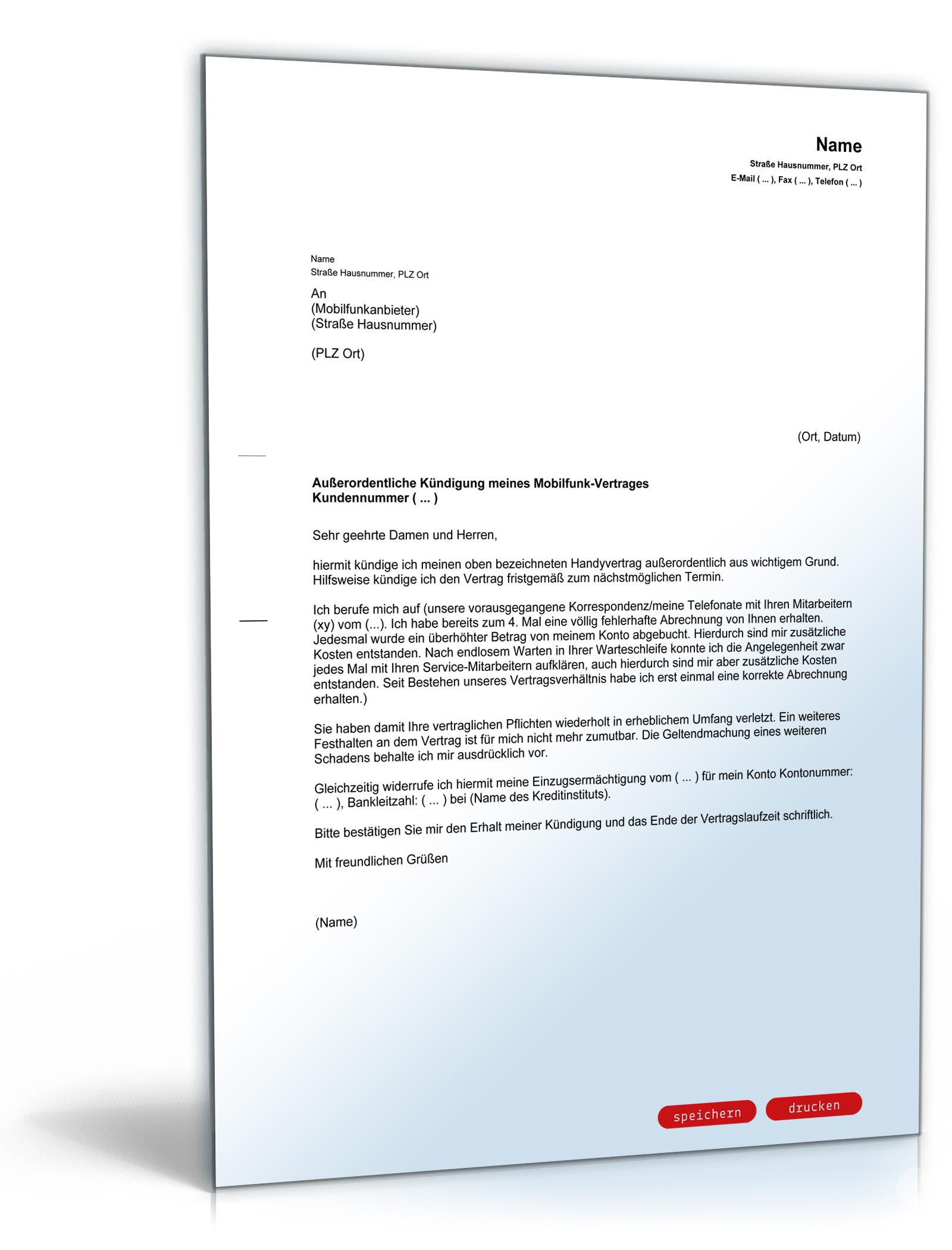 Fristlose Kündigung Handyvertrag Pdf Download Preispiratende