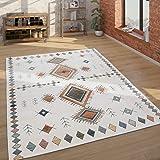 Paco Home Tapis, Tapis À Poils Ras pour Salon, Design Ethnique, Effet 3D, Beige, Dimension:200x290 cm