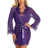 RSLOVE Women's Lace Kimono Robe Sexy Lingerie Babydoll Nightwear Mesh Nightdress Transparent Kimono Chemise
