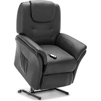 More4Homes WINDSOR ELECTRIC RISE RECLINER BONDED LEATHER ARMCHAIR SOFA HOME LOUNGE CHAIR (Black)