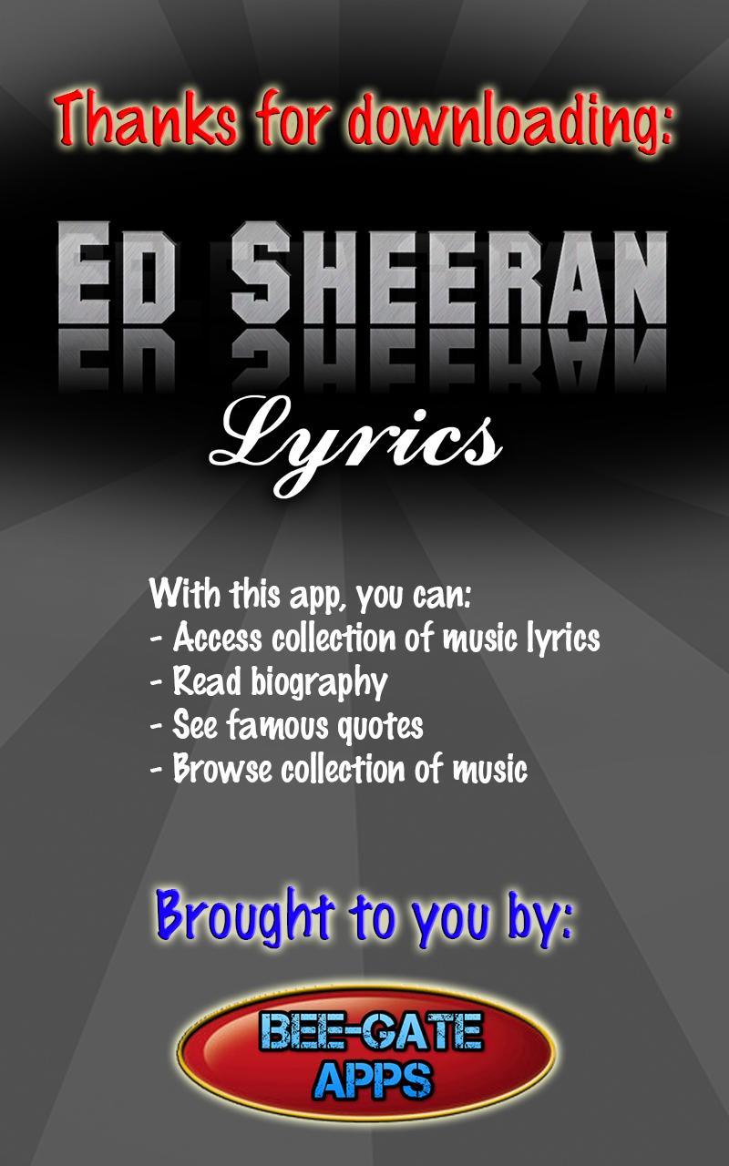 Ed Sheeran Lyrics: Amazon co uk: Appstore for Android