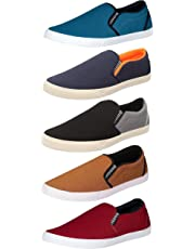 Chevit Men's Canvas Casual Loafers Shoes, Pack of 5 Combo