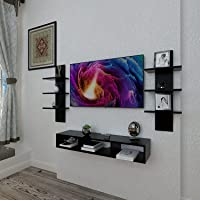 SHAKTI TRADER Wooden Wall Mounted TV Unit TV Stand Unit Wall Shelf for Living Room, Set Top Box Stand (Black)