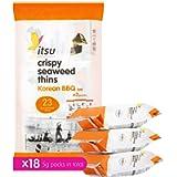 itsu Korean BBQ Crispy Seaweed Thins Multipack Healthy Snack 5g (Pack of 18)